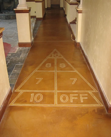 Concrete Shuffleboard Transforms Unfinished Basement Floor