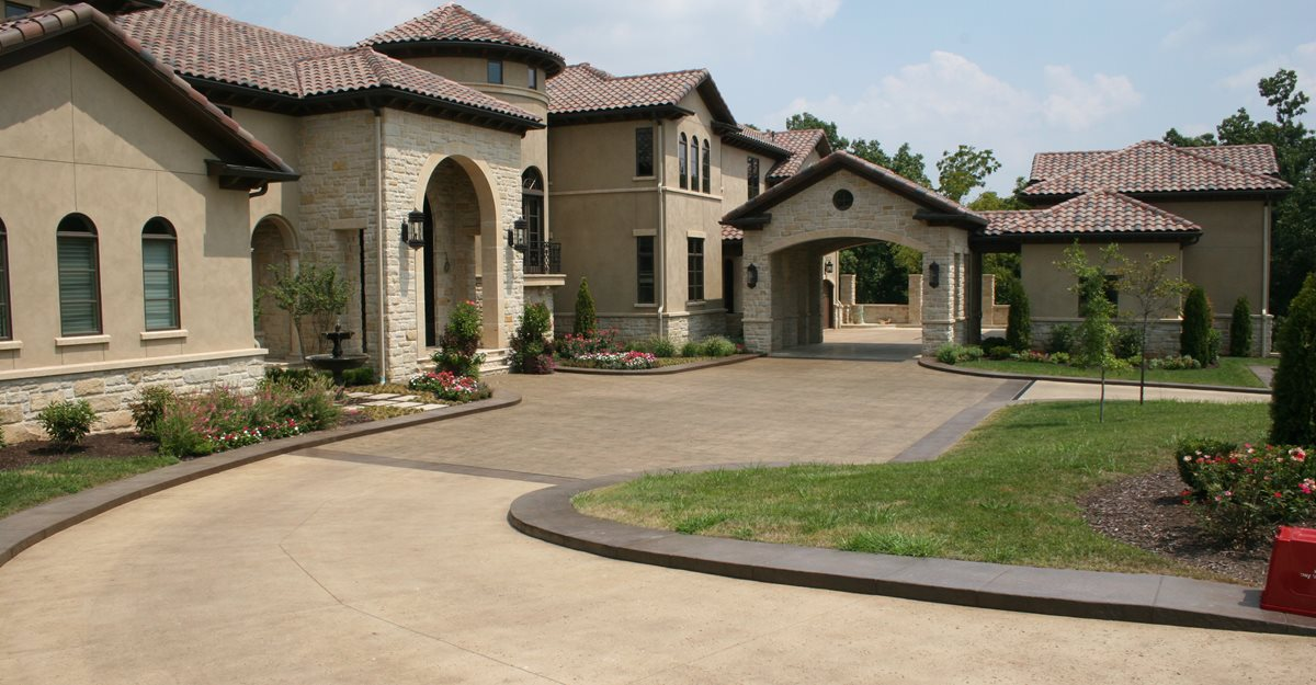 Colored Brown Driveway Concrete Driveways Ozark Patterned Concrete, Inc. Lowell, AR