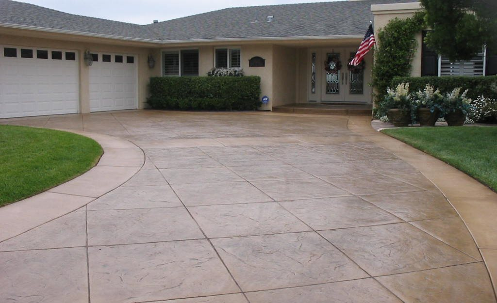 Contemporary with front steps gray brick driveway gray brick driveway - Concrete Driveways The Concrete Network
