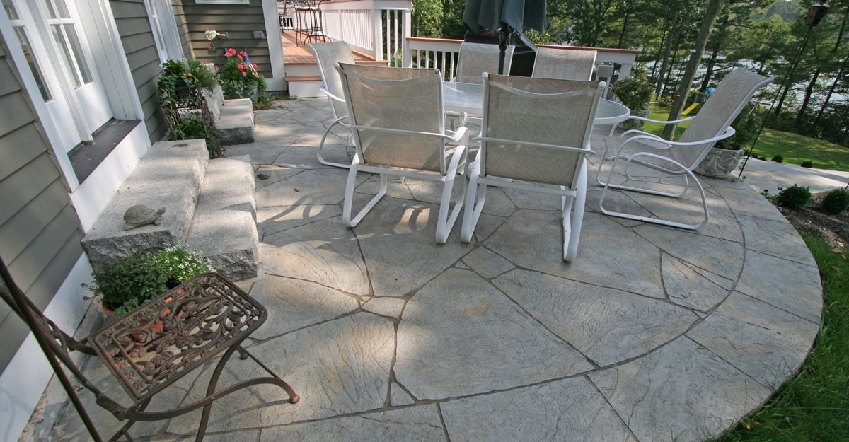 concrete patio decorative small backyard