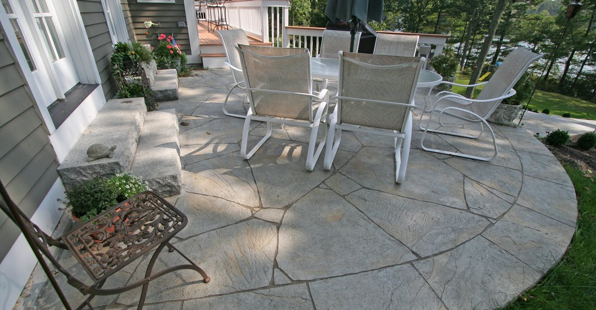 concrete small backyards new england concrete patios patios