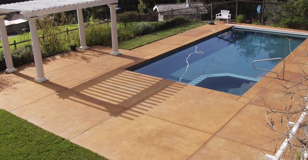 Smooth, Coffee Concrete Pool Decks Tom Ralston Concrete Santa Cruz, CA