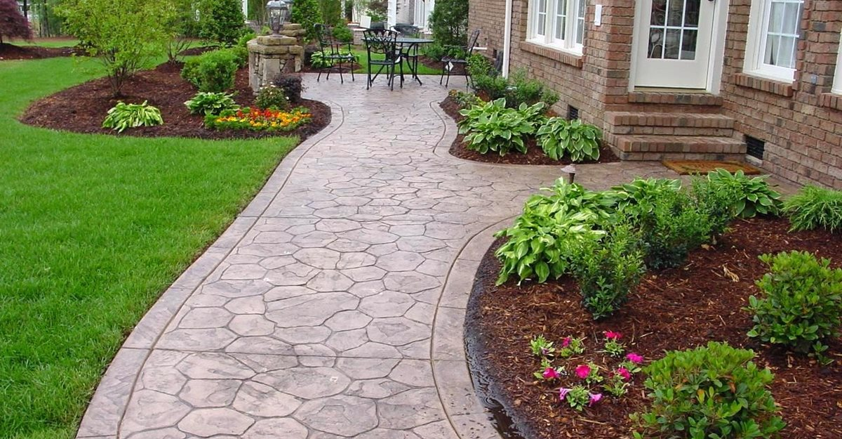 concrete sidewalk stamped cobble stone concrete walkways qc construction products madera ca - Sidewalk Design Ideas