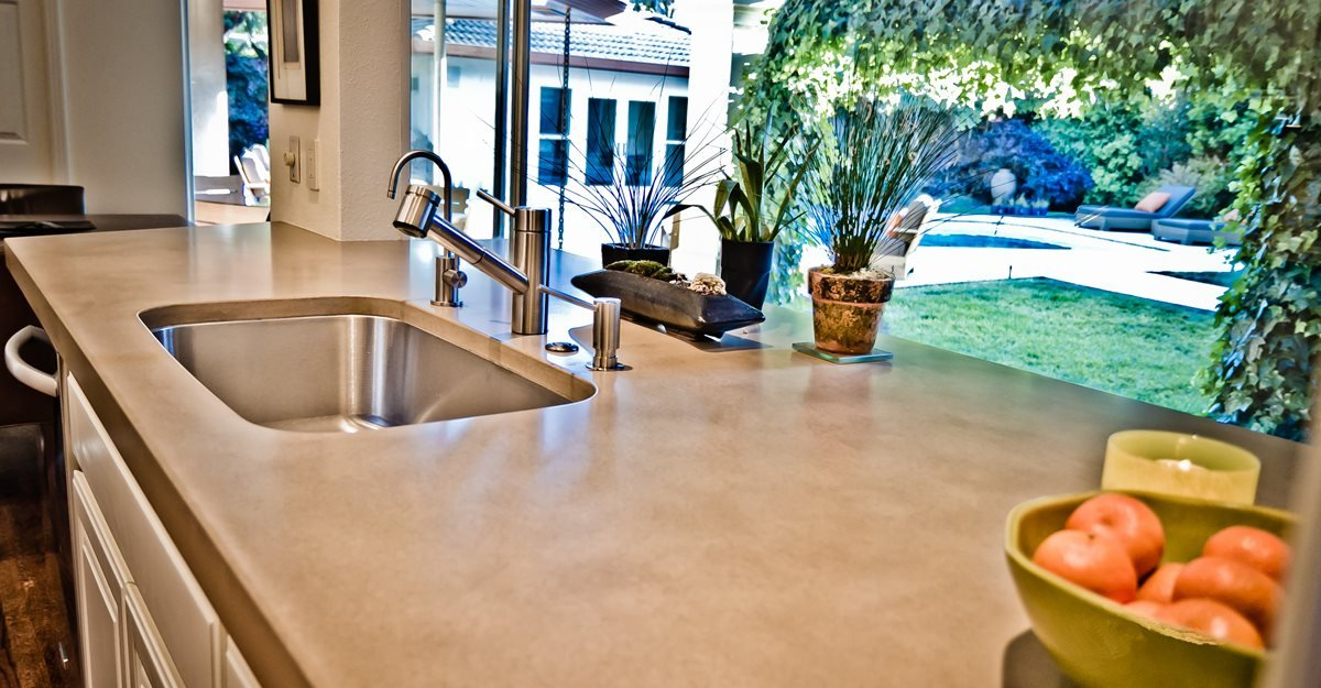 Light Tan Concrete Countertop, Undermount Stainless Steel Sink Concrete Walkways Flying Turtle Cast Concrete Modesto, CA