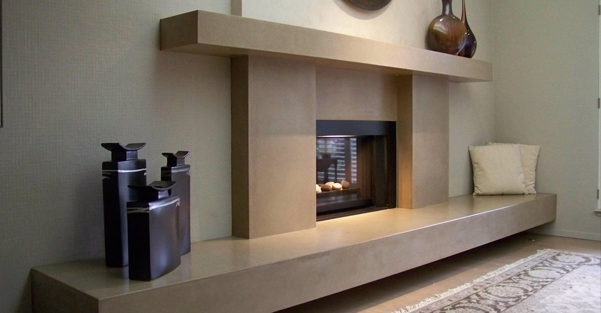 Cantilevered Hearth And Mantle Fireplace Surrounds Flying Turtle Cast Concrete Modesto, CA