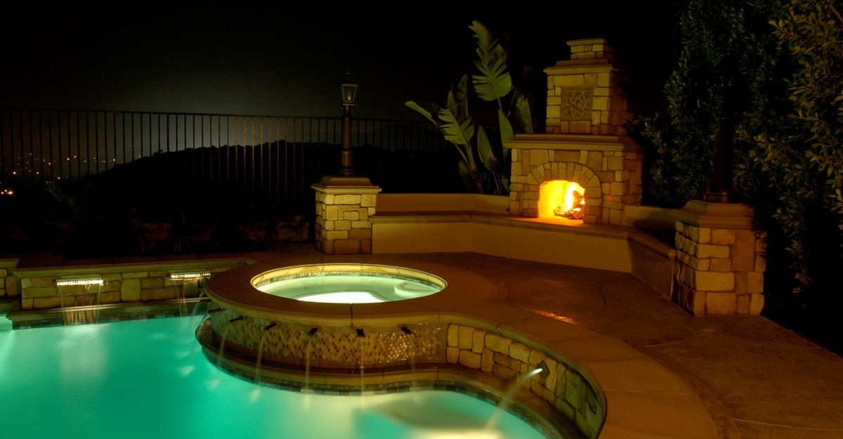 Lighting, Poolside Outdoor Fireplaces The Green Scene Chatsworth, CA