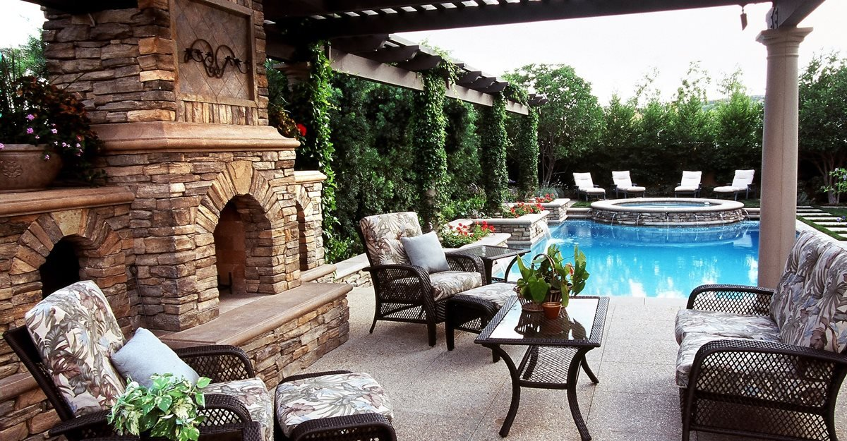 Outdoor Design Ideas outdoor design trend 23 fabulous concrete pool deck ideas Poolside Tri Level Outdoor Fireplaces The Green Scene Chatsworth Ca