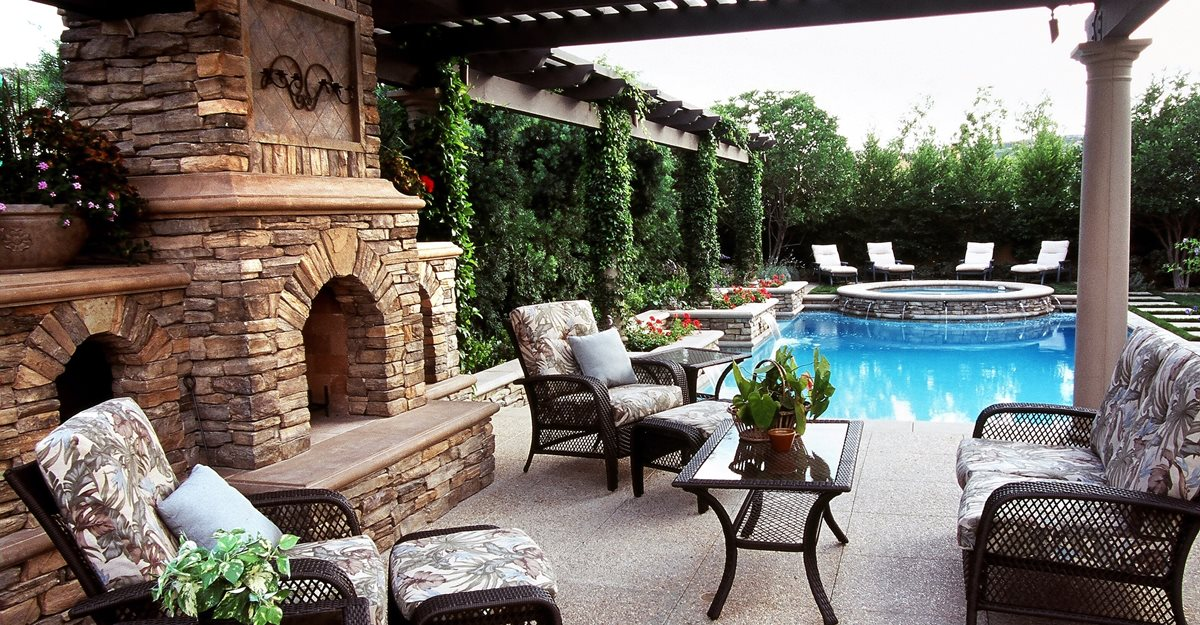 Poolside, Tri Level Outdoor Fireplaces The Green Scene Chatsworth, CA
