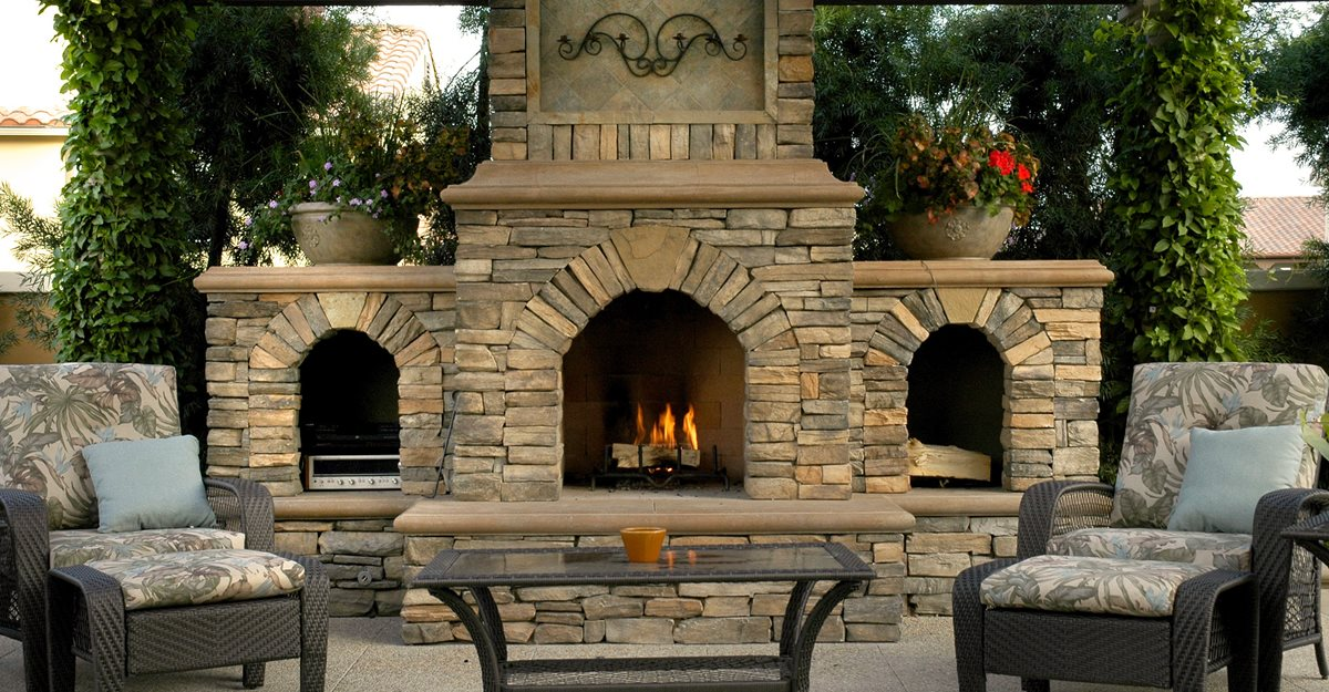 Outdoor fireplace backyard fireplace designs and ideas the concrete network - Images of stone fireplaces ...