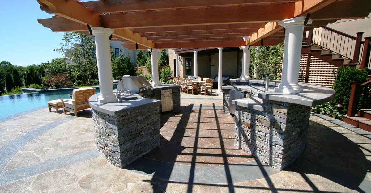 Outdoor concrete countertops design ideas and pictures for Outdoor stone kitchen designs