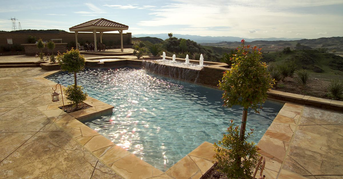 Concrete Pool Deck Site Davis Colors Los Angeles, CA  Concrete Pool Designs