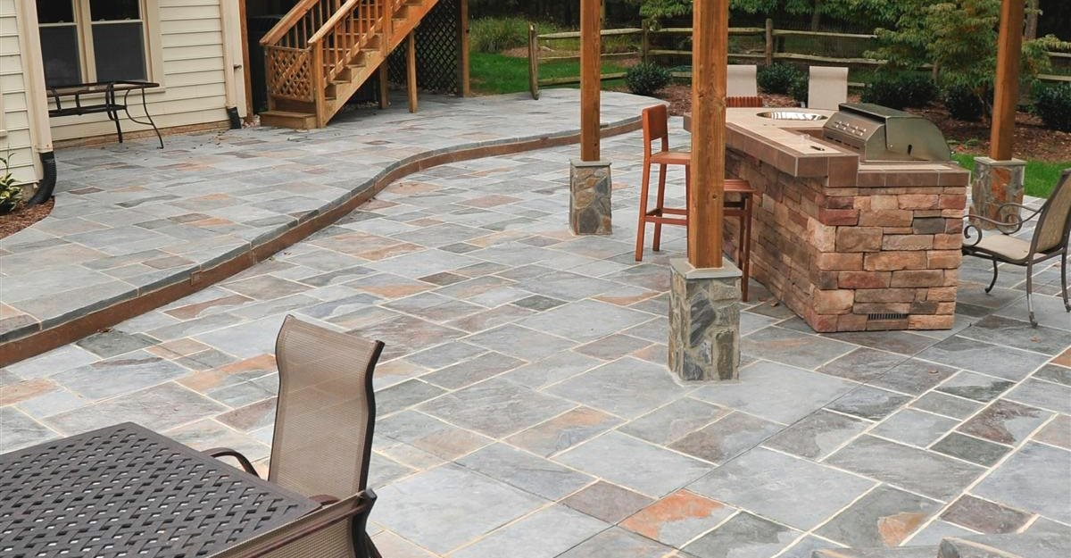 Faux Slate Floor Tiles Stamped Concrete - Photos, Designs, and How To - The ...