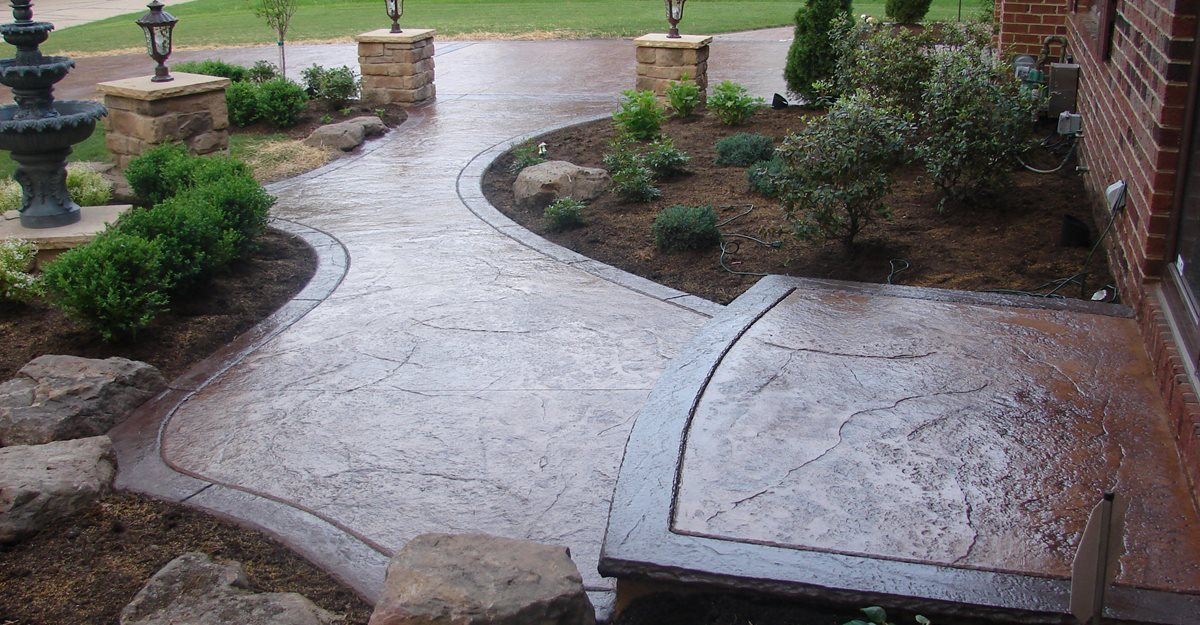 Textured Walkway Brown Landscaping Site JH Decorative Concrete LLC Uniontown