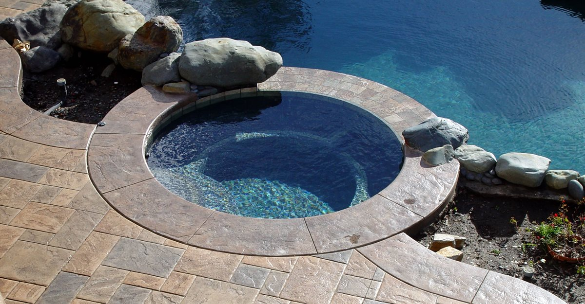 Square Stone, Earth Tone Concrete Pool Decks Apex Concrete Designs, Inc. Roseville, CA