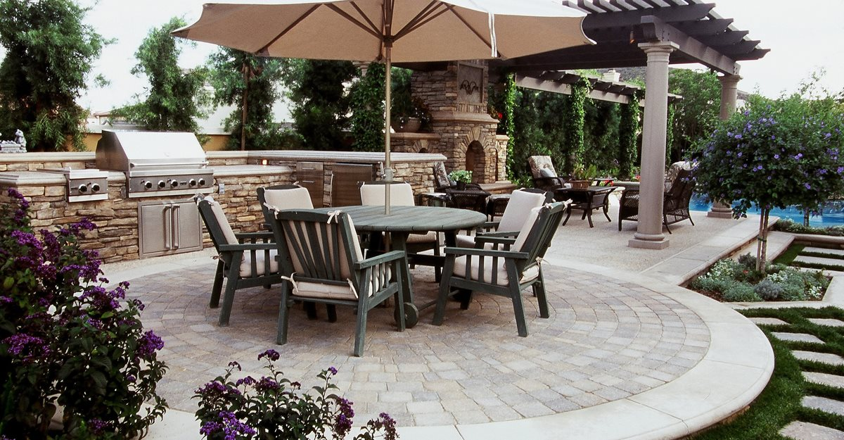 Designs For Backyard Patios patio landscaping ideas Concrete Patio Pavers