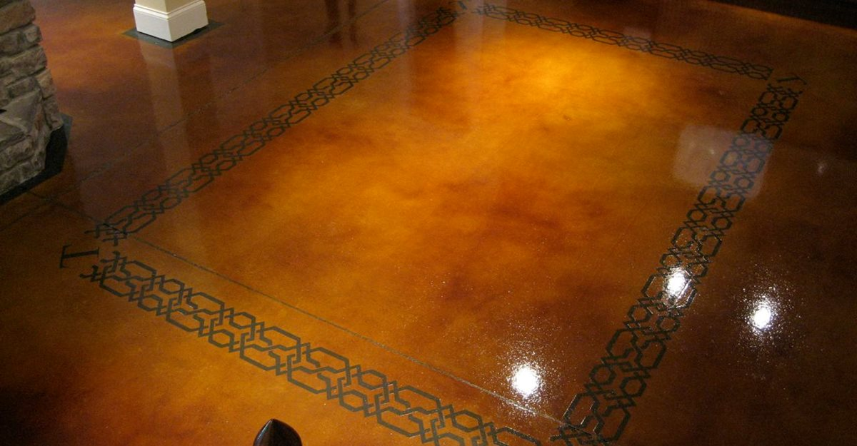 dye and seal concrete stained concrete brown stained concrete floor concrete floors the design - Concrete Floor Design Ideas