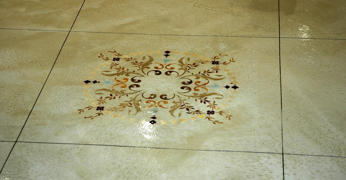 stenciling concrete - creating concrete patterns with stencils and
