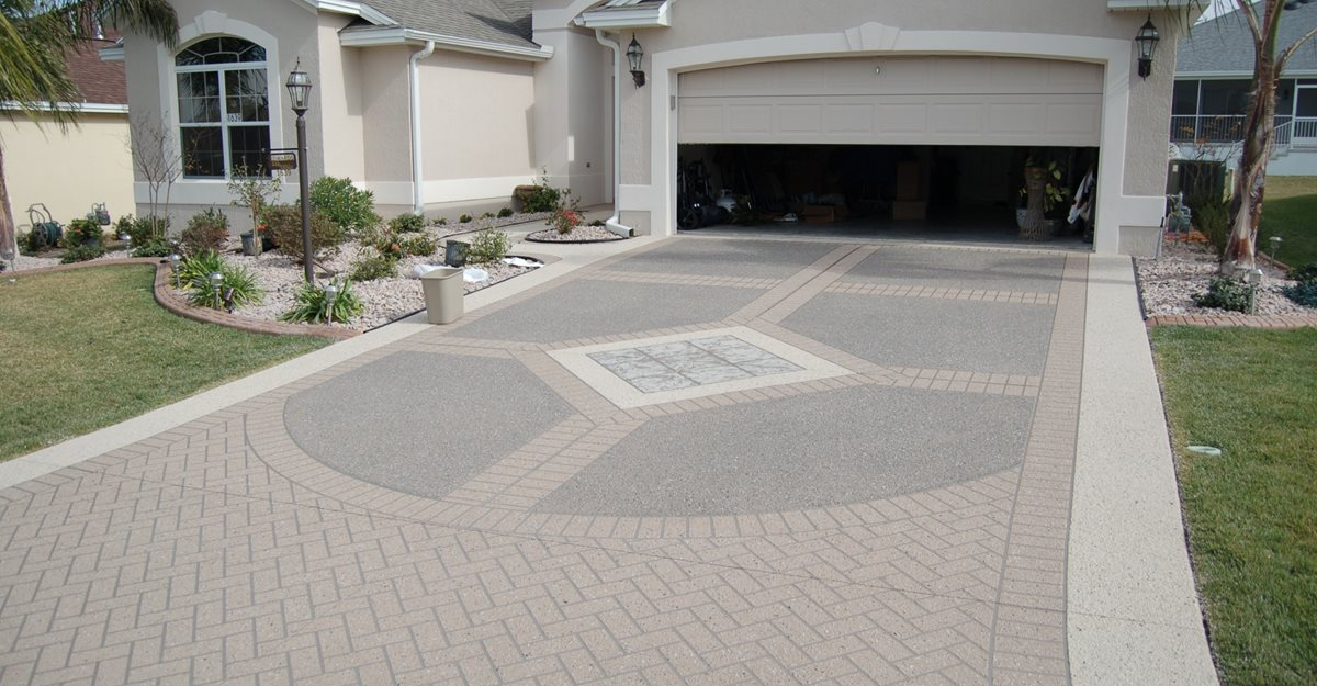 Decorative Concrete Driveway, Stencil Template Concrete Sinks Custom Ram Design Ocala, FL