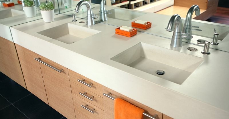 one piece bathroom sink and countertop concrete sinks and vessels the concrete network 25644