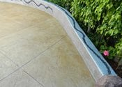 Stamped Patio, Concrete Wall, Colored Site Visions Below Laguna Niguel, CA