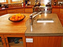 Kitchen Island, Close Up Concrete Countertops Flowstone Concrete Studio Sacramento, CA