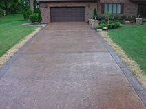 Straight, Brown, Stamped, Borders, Bands Concrete Driveways J&H Decorative Concrete LLC Uniontown, OH
