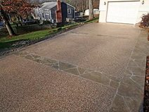 tan border concrete driveways new england hardscapes inc acton ma - Driveway Design Ideas