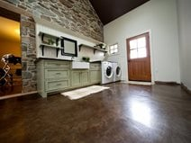 Brown Stained Concrete, Laundry Room Floor Concrete Floors Reformed Concrete LLC Quarryville, PA