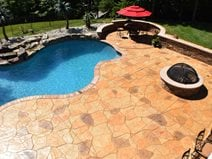 Stamped Pool Deck, Multi Color, Flagstone Concrete Pool Decks Greystone Masonry Inc Stafford, VA