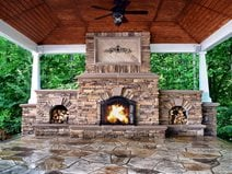 Stamped Patio with Fireplace