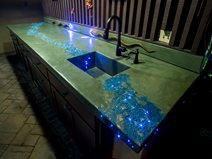 Concrete Countertop, Leed Lights Site Tom Ralston Concrete Santa Cruz, CA