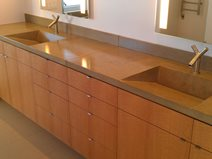 Gray, Double Sink, Concrete, Backsplash Site DC Custom Concrete San Diego, CA
