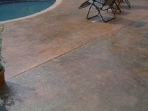 Stamped Leaf Pattern, Pool Deck Site Artistic Concrete Riverside, RI