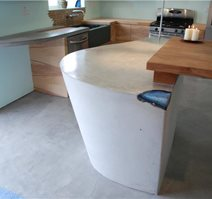 Light Grey, Modern Counter, Modern Kitchen Insland Site DC Custom Concrete San Diego, CA