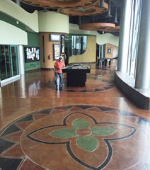 Musas Museo De Arte De Sonora, Stained Floor Medallion Site Concrete by Hallack Turlock, CA