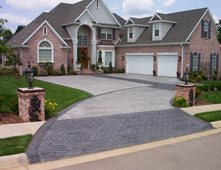 brick and concrete driveway patterned drive concrete pattern driveway concrete driveways ozark pattern concrete - Concrete Driveway Design Ideas