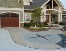compass stained concrete driveways nobel concrete jenison mi - Concrete Driveway Design Ideas