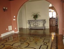 stenciled floor stained floor patterned floor concrete floors image n concrete designs - Concrete Floor Design Ideas