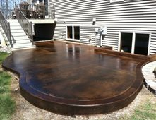 dark acid stained patio concrete patios dancer concrete design fort wayne in - Concrete Patio Design Ideas