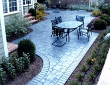 Stamped Concrete Backyard Ideas i like the idea of rounded stairs coming from our patio door stamped concrete Stamped Concrete Slate Concrete Patios Amcon Llc Gaithersburg Md