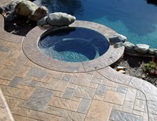 Square Stone, Earth Tone Concrete Pool Decks Apex Concrete Designs, Inc.  Roseville,  Concrete Pool Designs