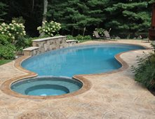 Stamped Concrete Around Pool Best Concrete Pool Decks Pictures  Gallery  The Concrete Network