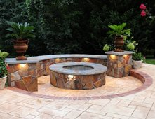 Genial Fire Pit, Seat Wall, Stamped Concrete Outdoor Fire Pits Salzano Custom  Concrete Aldie,