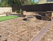 Stamped Concrete, Backyard Makeover, Fire Pit Outdoor Fire Pits KB Concrete  Staining Norco,