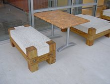 Concrete Bench With Wood Legs Outdoor Furniture Ancient Art Concrete  Countertops Austin, TX