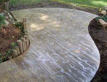 Faux Bois Patio, Wood Stamped Concrete Rustic Decorative Concrete Concrete  Creations Plymouth, IN