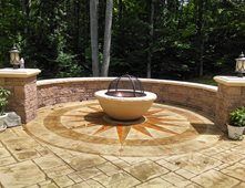 Sun Design, Fire Pit, Stamped Patio, Medallion Stamped Concrete Greystone  Masonry Inc Stafford