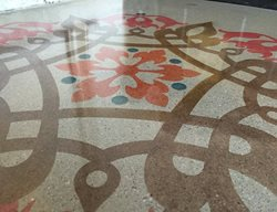 Polished Concrete, Modello Stencil, Flower Mandala Artistic Concrete Sleek Floors Inc Henderson, NV
