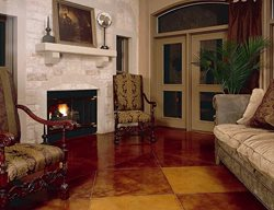 Brown Checkered Stain Brown Floors Kemiko Concrete Coatings & Floor Systems Whittier, CA