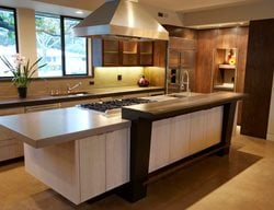 Brown Grey Counter, Stovetop Concrete Countertops Flying Turtle Cast Concrete Modesto, CA